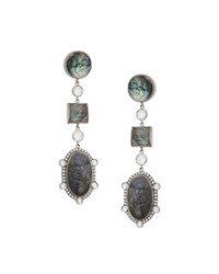 Coomi Affinity Three Drop Labradorite Earrings With Diamonds