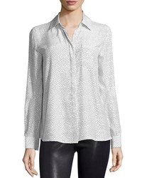 Frame Le Boyfriend Classic Shirt White Black Polka Dot Size Medium White And Black Pol