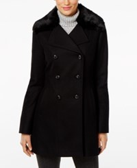 Inc International Concepts Faux Fur Collar Peacoat Only At Macy's Black
