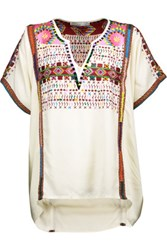 Chelsea Flower Yuca Embroidered Woven Top Ecru