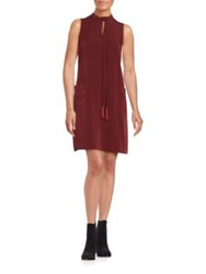 Erin Fetherston Sleeveless Tie Neck Shift Dress Wine