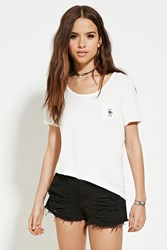 Forever 21 Embroidered Bee Nice Pocket Tee White Black