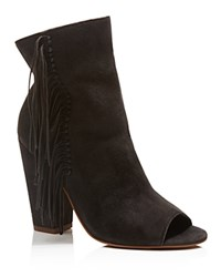 Dolce Vita Mazarine Fringe Open Toe High Heel Booties Anthracite