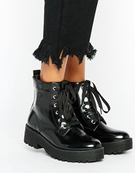 Truffle Collection Lace Up Boot Black Box Pu