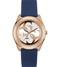 Guess W0911l6 G Twist Gold Plated And Silicone Watch