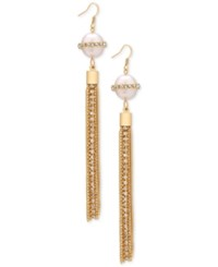Guess Gold Tone Pave And Imitation Pearl Fringe Drop Earrings
