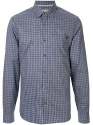Gieves And Hawkes Checked Cotton Shirt Blue