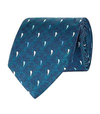Turnbull And Asser Teardrop Swirl Silk Tie Unisex Turquoise