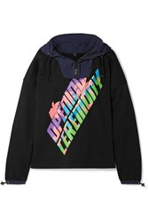 Opening Ceremony Shell Trimmed Logo Print Cotton Terry Hoodie Black