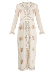 Vilshenko Kora Deep V Neck Embroidered Cotton Midi Dress Cream Multi
