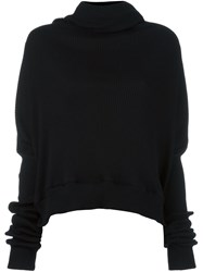 Unravel Shawl Collar Ribbed Jumper Black