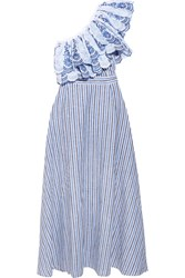 Gul Hurgel Belle One Shoulder Striped Cotton And Linen Blend Midi Dress Blue