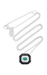 Nikos Koulis Oui Pendant With Emerald Center Pave White Diamonds And Black Enamel Green
