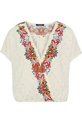 Love Sam Wrap Effect Embellished Cotton And Linen Blend Blouse Ecru