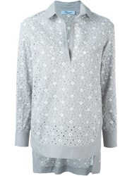 Blumarine 'Cut Out Embroidered' Blouse Grey