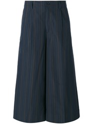 08Sircus Striped Cropped Trousers Women Cotton Cupro 2 Blue