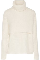 Michelle Mason Layered Ribbed Knit Turtleneck Sweater Ivory