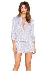 Indah Plateau Printed Utility Romper Gray