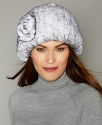 The Fur Vault Rosette Knitted Rex Rabbit Hat White