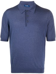 Barba Solid Color Polo Shirt Blue