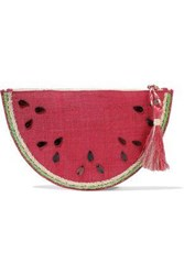 Kayu Woman Frutta Embellished Woven Straw Clutch Red