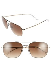 Men's Gucci 58Mm Navigator Sunglasses Light Gold Brown Gradient
