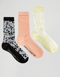 French Connection 3 Pack Print And Plain Socks Coral Yellow White Multi