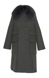 Dice Kayek Double Breasted Coat With Fox Fur Collar Green