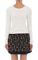 Lisa Perry Pom Pom Sweater White