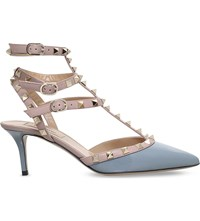 Valentino Rockstud 65 Patent Leather Courts Grey Light