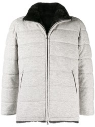 N.Peal Fur Lined Quilted Jacket Grey