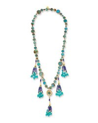 Devon Leigh Long Turquoise And Lapis Tassel Necklace