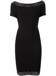 Herve Leger Short Sleeved Fitted Dress Black