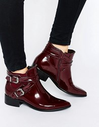 Glamorous Strap Chelsea Flat Ankle Boots Burgundy High Shine Red