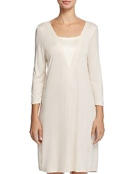 Hanro Viola Three Quarter Sleeve Gown Pearled Ivory