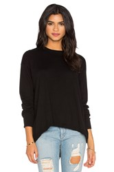 Wilt Cotton Cashmere Split Back Slouchy Sweater Black
