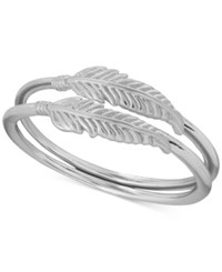 Lucky Brand Silver Plated Feather Double Ring