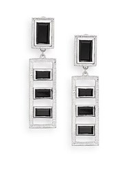 Judith Ripka Bativia Onyx And Sterling Silver Frame Ladder Drop Earrings Silver Black