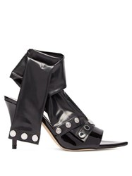 Christopher Kane Latex Strap Patent Leather Mules Black