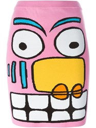 Jeremy Scott Cartoon Face Pencil Skirt Multicolour