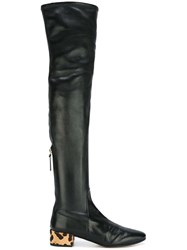 Francesco Russo Thigh High Contrast Heel Boots Black
