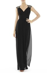 Women's Alfred Sung Shirred Chiffon Cap Sleeve Gown Black