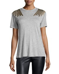 Haute Hippie Slub Jersey Eagle Tee Light Heather Gray Lightheathergray