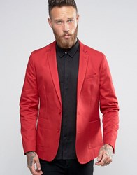 Asos Skinny Blazer In Washed Cotton In Red Red