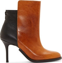 Maison Martin Margiela Brown And Black Leather Stiletto Ankle Boots