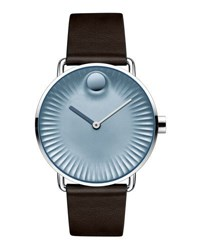 Movado 40Mm Edge Watch With Leather Strap Brown Blue Brown Blue