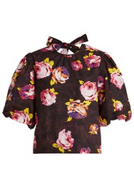 Msgm Neck Tie Printed Cotton Poplin Top Black Multi