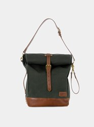 J.Panther Luggage Olive Canvas Tan Leather Roll Tote Bag Green