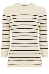 Warehouse Breton Stripe Crew Jumper Cream