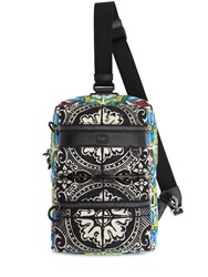Dolce And Gabbana Printed Nylon Leather Backpack Blue